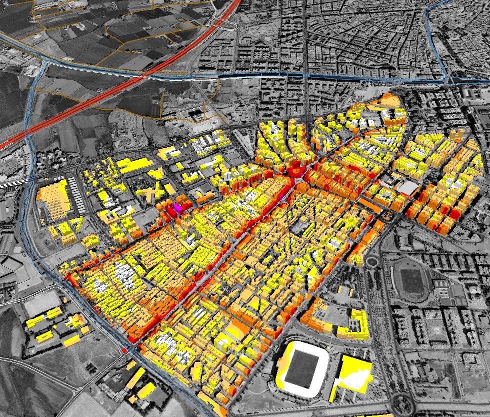 Mapa de niveles sonoros - Barrio del Zaidin (Granada)